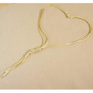 Colier argint placat cu aur -cu doua randuri de lant -CTAC1994PLGIA