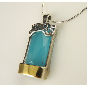 Colier argint si aur 14k -blue ocean quartz-400895