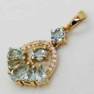 Dallas- Pandantiv argint placat cu aur galben -VP020118-topaz