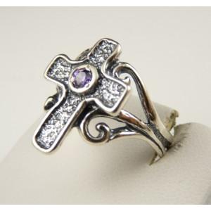 Inel argint - cruciulita -R2180- ametist