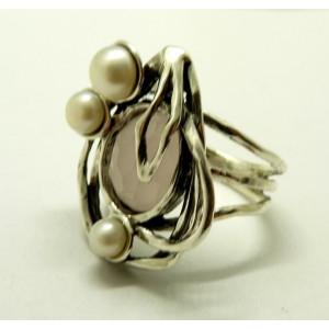 Inel argint cuart roz si perla R5473
