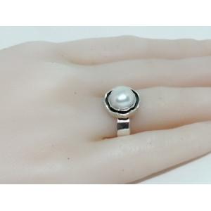 Inel argint perle - R3083