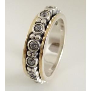 Inel argint si aur 14k cu zircon R4692