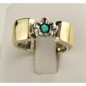 Inel argint si aur 14k -opal-100558