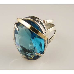Inel argint si aur 14k -topaz-101155