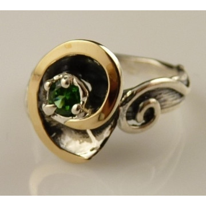 Inel argint si aur 9k -10713 green quartz