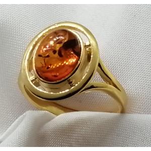 Inel din argint placat cu aur galben si chihlimbar cognac- R2088