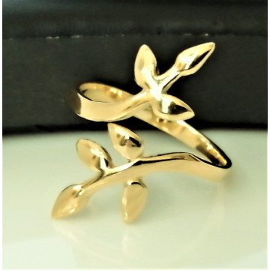 Inel REGLABIL -argint placat cu aur galben-frunzulite-R3431-