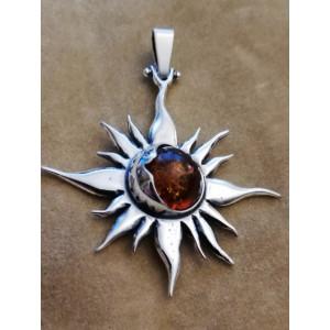 Pandantiv argint chihlimbar P1532 -soare