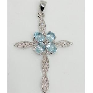 Pandantiv argint cruciulita-VP028956- blue topaz