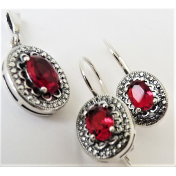 Set argint -red quartz -E3707-P3706