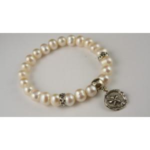 Bratara reglabila argint perle -B5632B-1