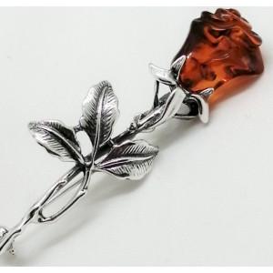 Brosa argint si chihlimbar cognac BRO2685