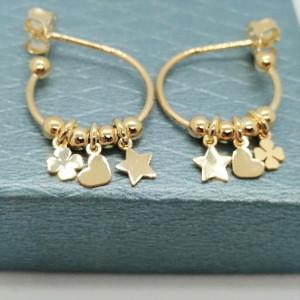 Cercei argint placat cu aur galben -ORST0199AGP15 -semicreole cu stea,trifoi,inimioara