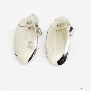 Cercei delicati din argint cu diamant I3-taietura dubla VE031960