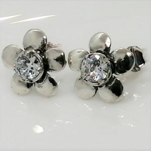 Cercei din argint cu surub - zircon -E10761