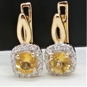 Cercei Nova -argint placat cu aur galben -VE011486 citrin