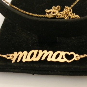 Colier din argint placat cu aur galben <mama> -N3754-1