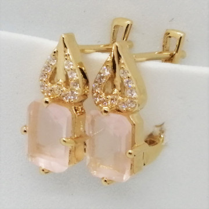 Cruella -Cercei argint placati cu aur galben -VE013917 cuart roz
