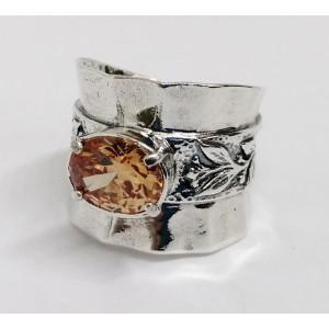 Inel argint champagne quartz R1585