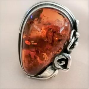 Inel argint chihlimbar masiv R2888-3