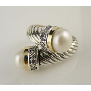 Inel argint si aur 14k cu perle R600SN
