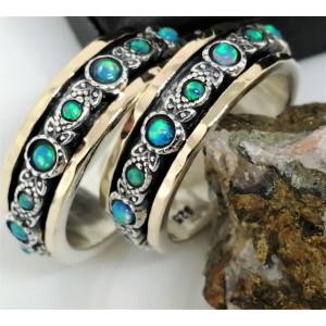 Inel argint si aur 14k, opal nobil -R4808