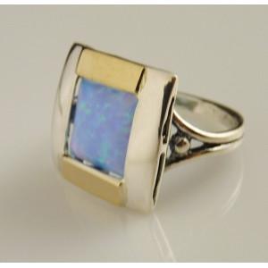 Inel argint si aur 9 k -10151 opal
