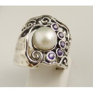 Inel din argint cu perla de cultura si ametiste -R2760