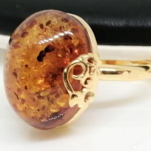 Inel din argint placat cu aur si chihlimbar R2089-3