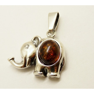 Pandantiv argint chihlimbar -Elefant - P1371