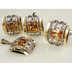 Pandantiv argint si aur 9 k -20001 champagne quartz