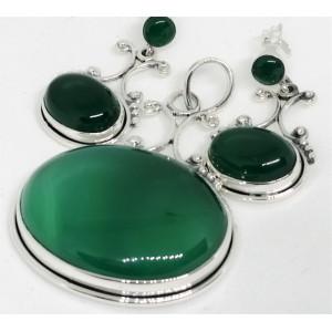Set pandantiv si cercei din argint - SET 53 onix verde