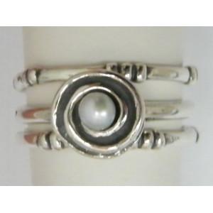 Stiva 3 inele - perla si argint R834