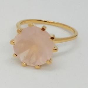 TROPEZ -Inel argint placat cu aur -cuart roz-VR014712