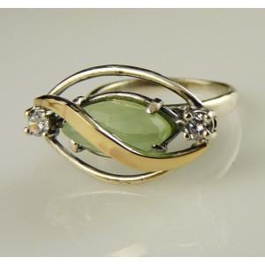 Inel argint  si aur 9 k -10378 green ocean quartz