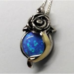 Colier argint si aur 14k -410474 opal