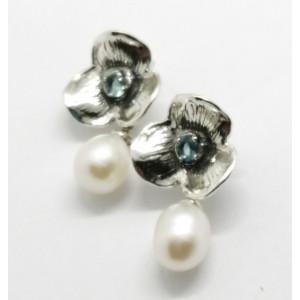 Cercei din argint cu surub -perla de cultura si topaz-E9907