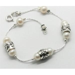Bratara argint perle -BC1