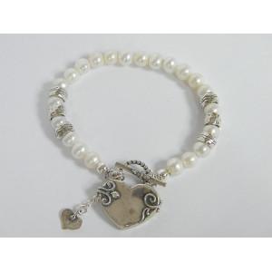 Bratara argint perle -B1146 inima