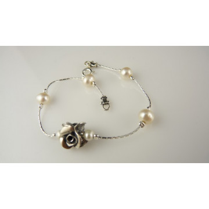 Bratara argint perle si trandafir -B4104-4