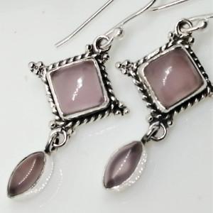 Cercei argint cuart roz- E70