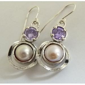 Cercei argint perla si lavander quartz E1721