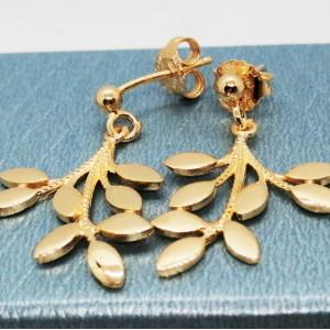 Cercei argint placat cu aur galben -frunze-ORPV0700PLGIA