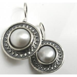 Cercei argint vintage style cu perla E733