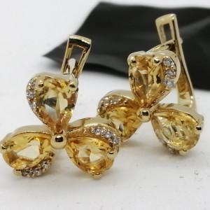 Cercei Jeannine -argint placat cu aur -VE013772 citrin