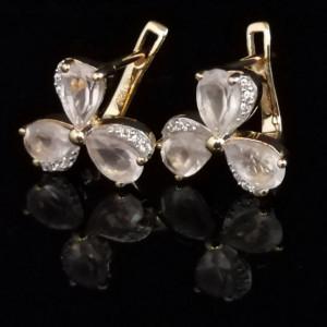 Cercei Jeannine -argint placat cu aur -VE013772 -Cuart roz