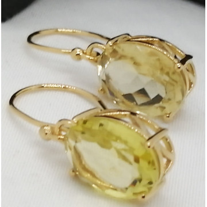 Cercei Nisa -argint placat cu aur -VE030513 lemon topaz