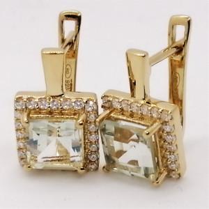 Cercei Suzane -argint placat cu aur si ametist verde