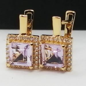 Cercei Suzane -argint placat cu aur si pink ametist -VE023160